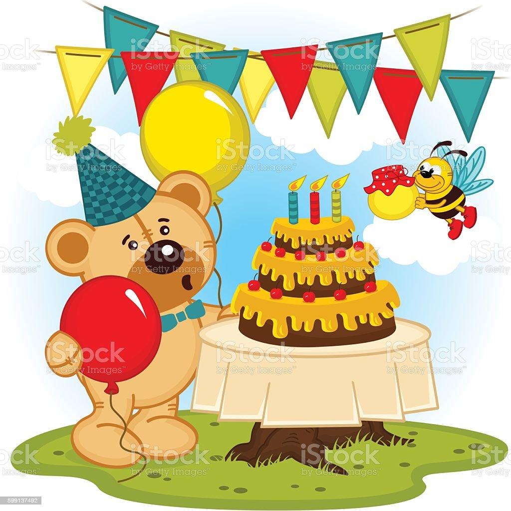 teddy bear celebrates birthday vector art illustration