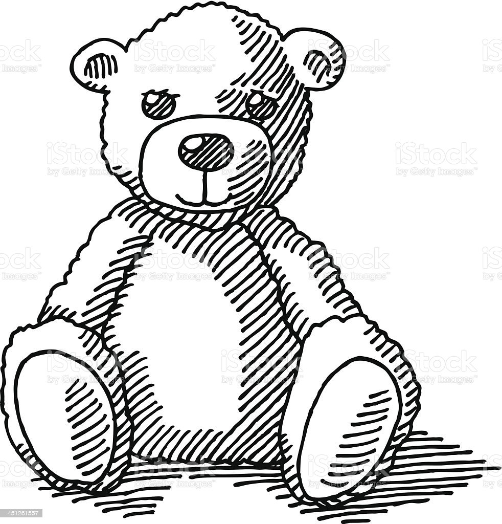 Teddy Bear Drawing vector art illustration