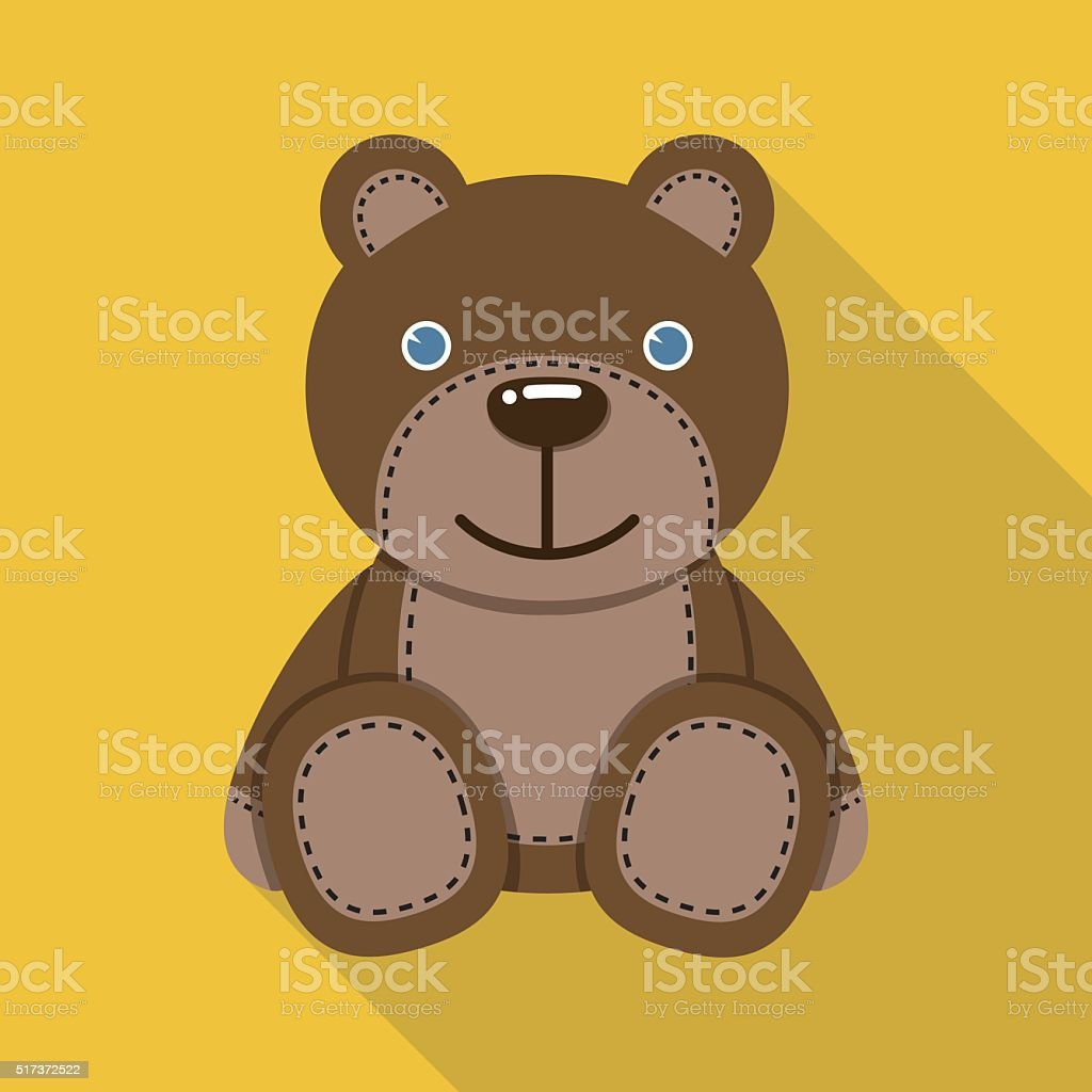 Teddy bear flat icon with long shadow vector art illustration