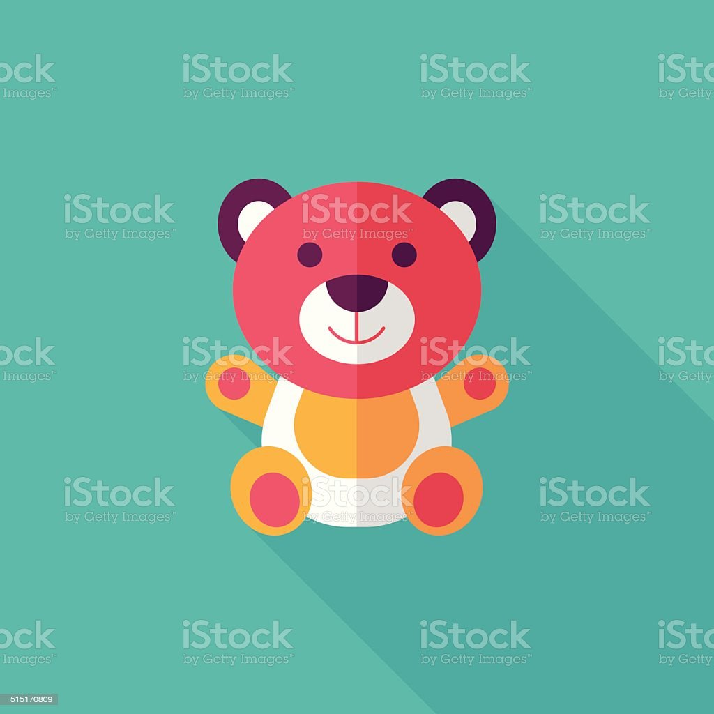 teddy bear flat icon with long shadow,eps 10 vector art illustration