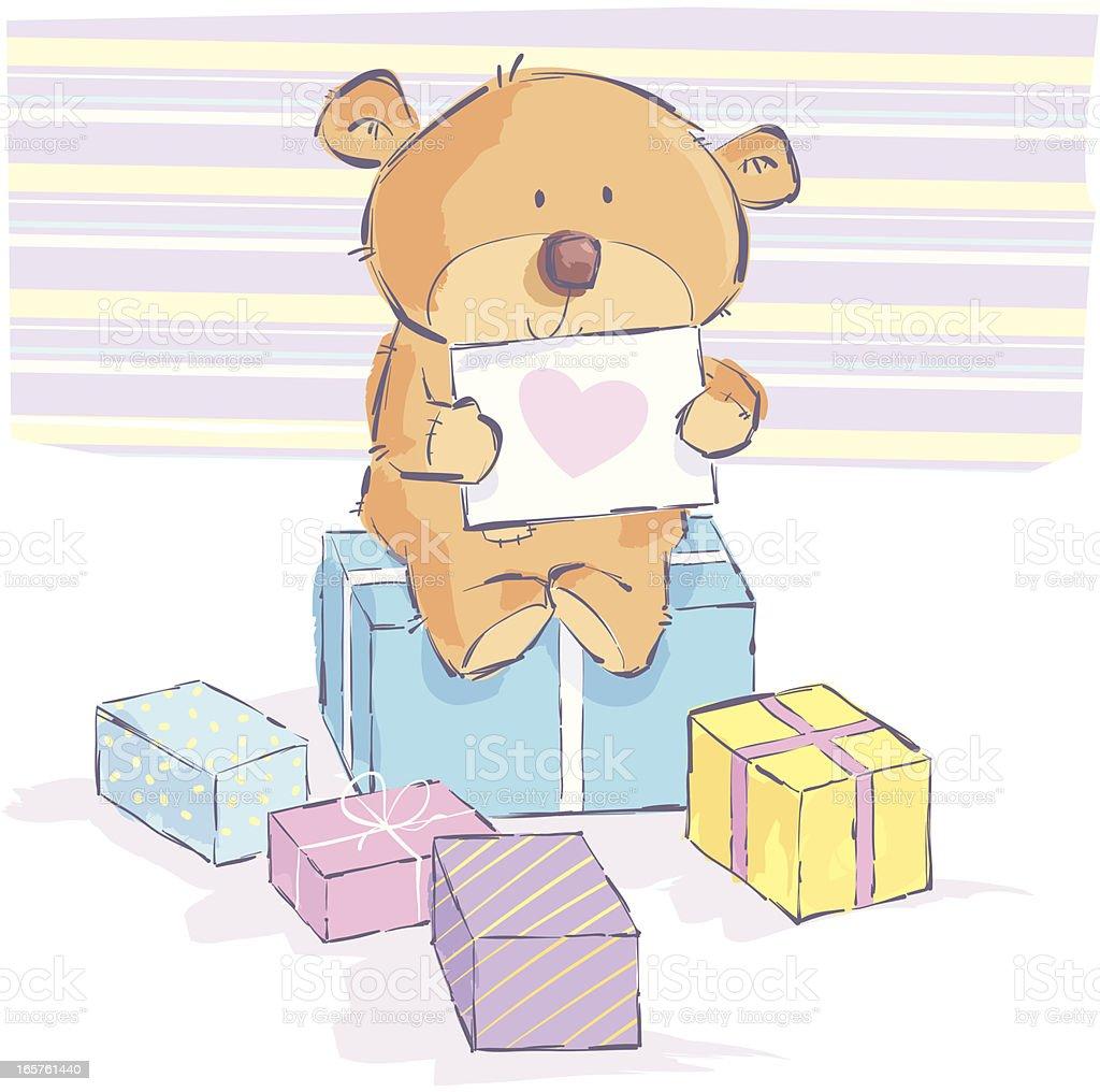Teddy bear heart royalty-free stock vector art