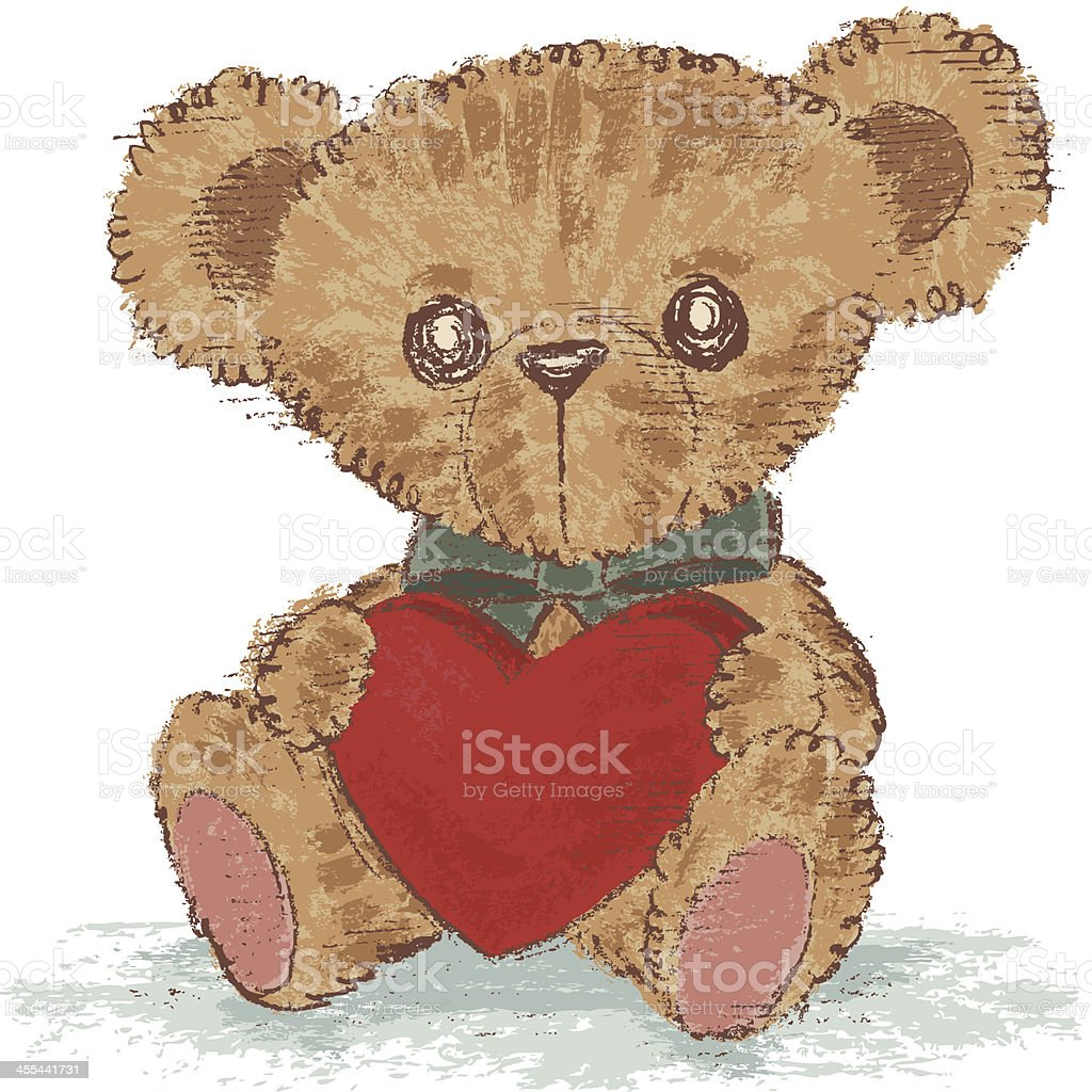 Teddy bear holding a heart that vector art illustration