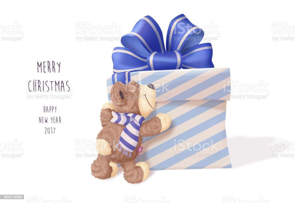 Teddy Bear hugging big gift vector art illustration
