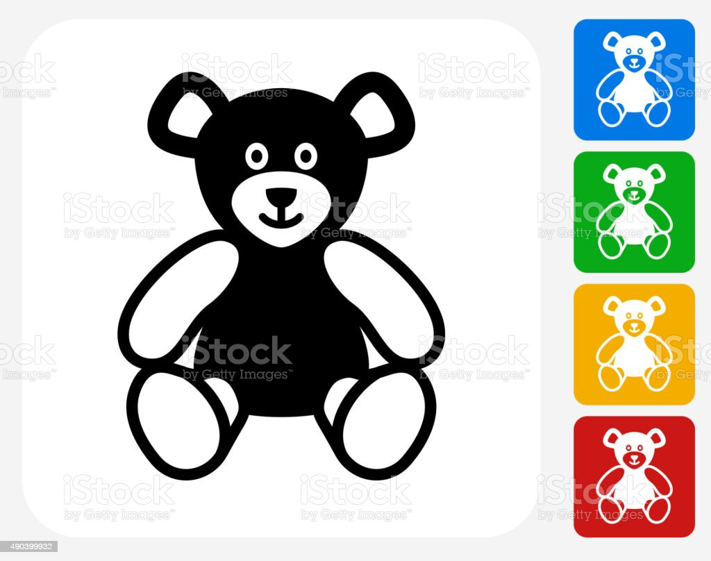 Teddy Bear Icon Flat Graphic Design vector art illustration