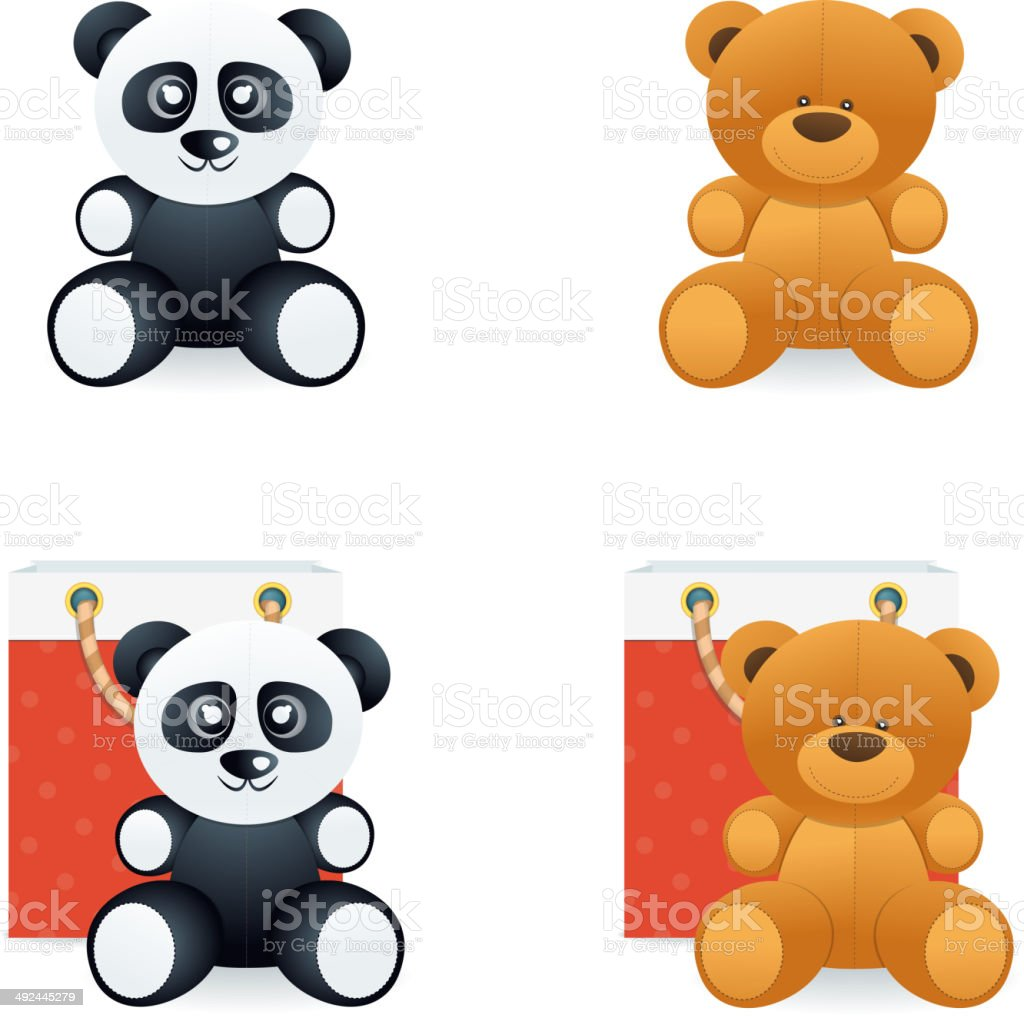 Teddy Bear Icons vector art illustration