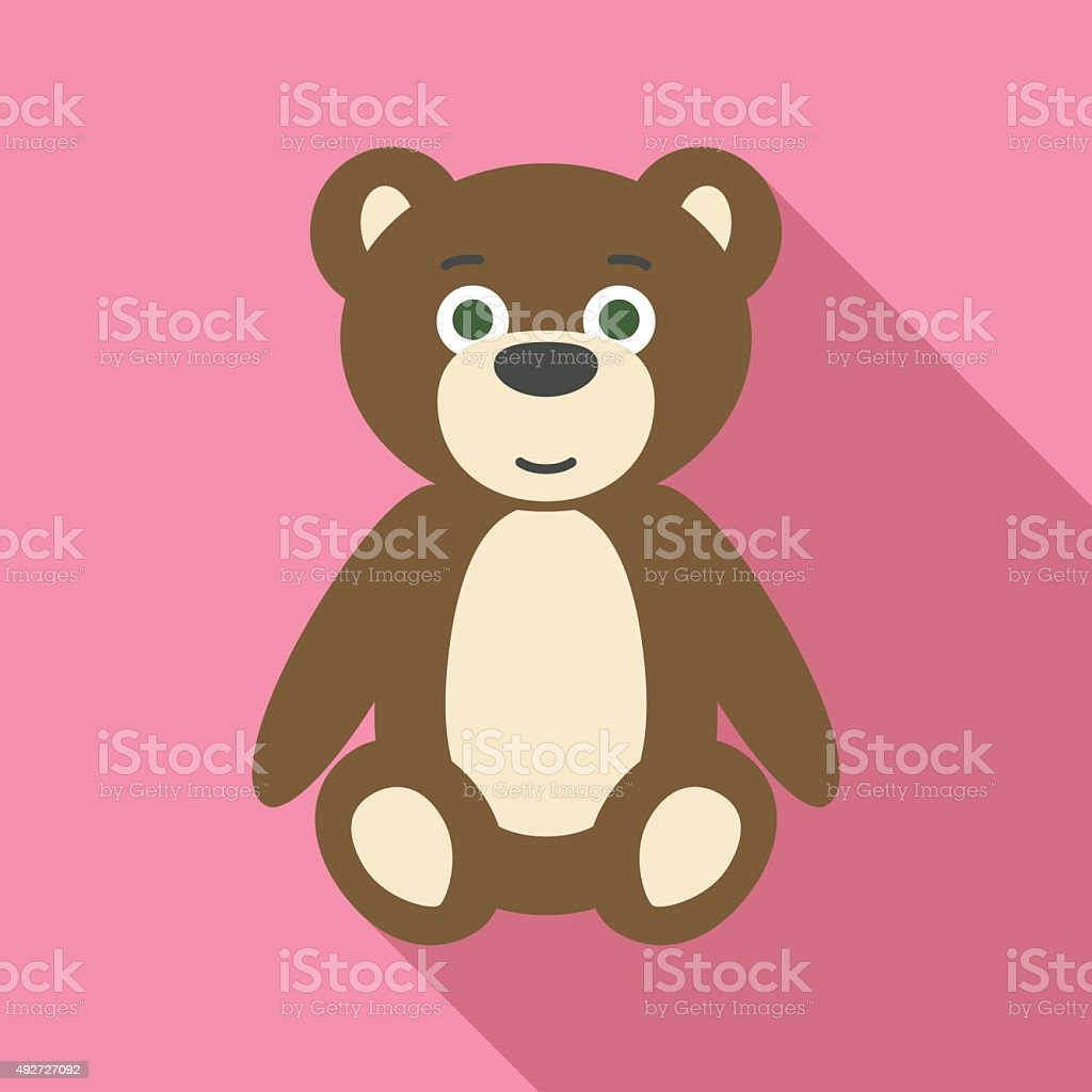 Teddy Bear in Flat Style with Long Shadows vector art illustration