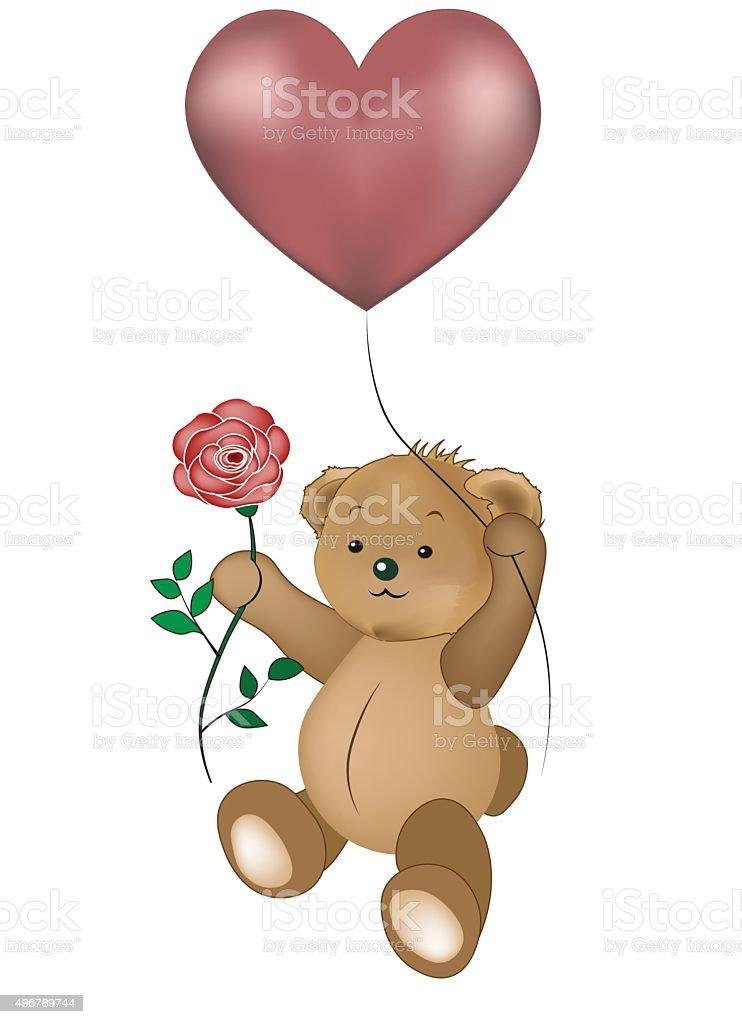 Teddy bear in the sky vector art illustration
