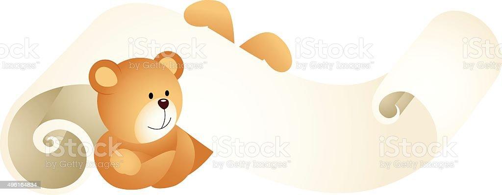 Teddy bear lying down on parchment vector art illustration