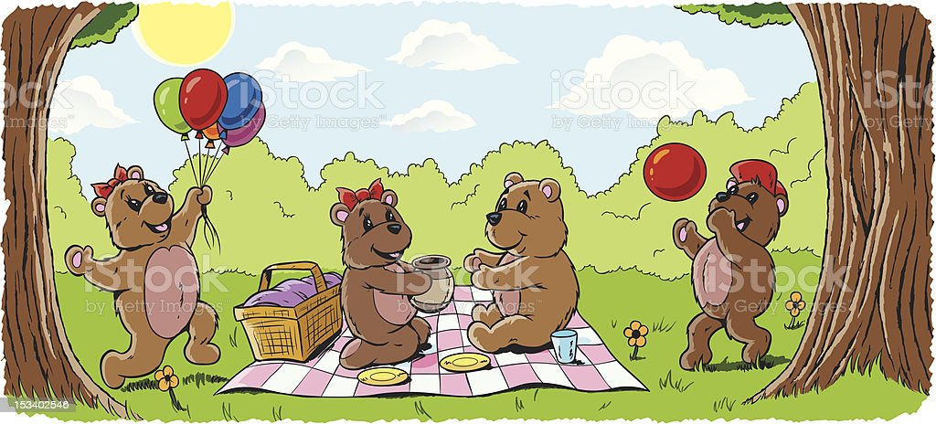 Teddy bear picnic vector art illustration