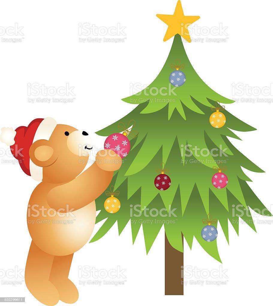Teddy bear placing glass balls in Christmas tree vector art illustration