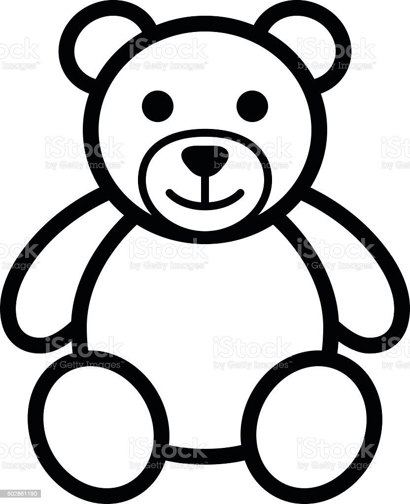 Teddy bear plush toy line art icon illustration vector art illustration