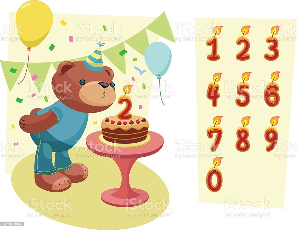 Teddy Bear Series: Birthday Celebration. vector art illustration