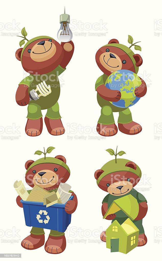 Teddy Bear Series: Green mind. royalty-free stock vector art