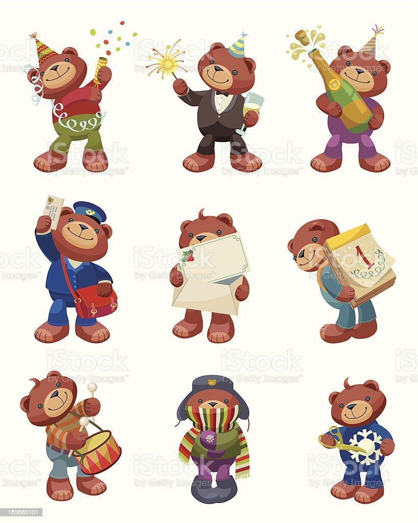 Teddy Bear Series: New Year Celebration. vector art illustration