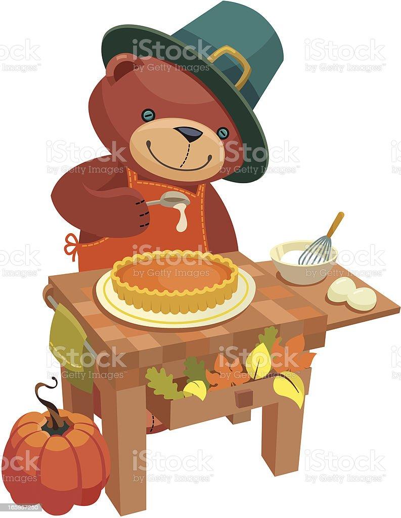 Teddy Bear Series: Thanksgiving pie royalty-free stock vector art