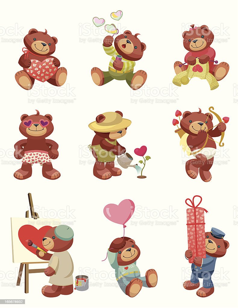 Teddy Bear series: Valentine`s Day. royalty-free stock vector art