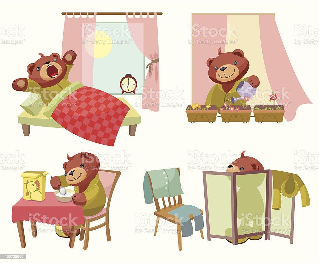 Teddy Bear series: Weekday royalty-free stock vector art