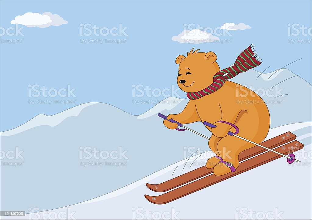 Teddy bear skies in mountains day royalty-free stock vector art
