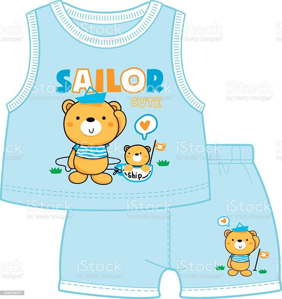 Teddy bear twin brothers royalty-free stock vector art