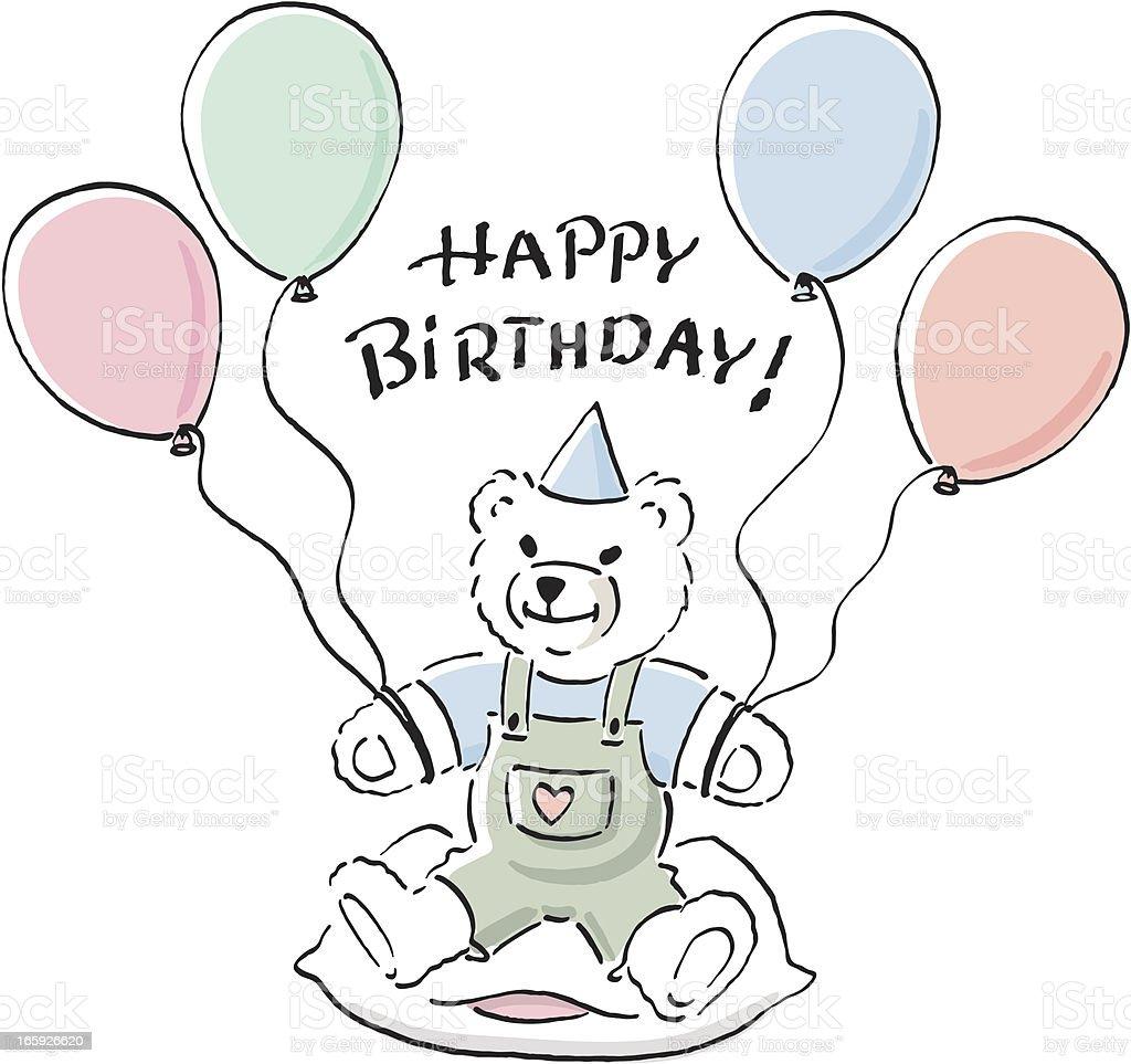 Teddy bear wishing happy birthday. royalty-free stock vector art