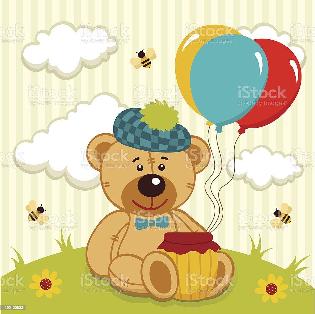 teddy bear  with a pot of honey royalty-free stock vector art