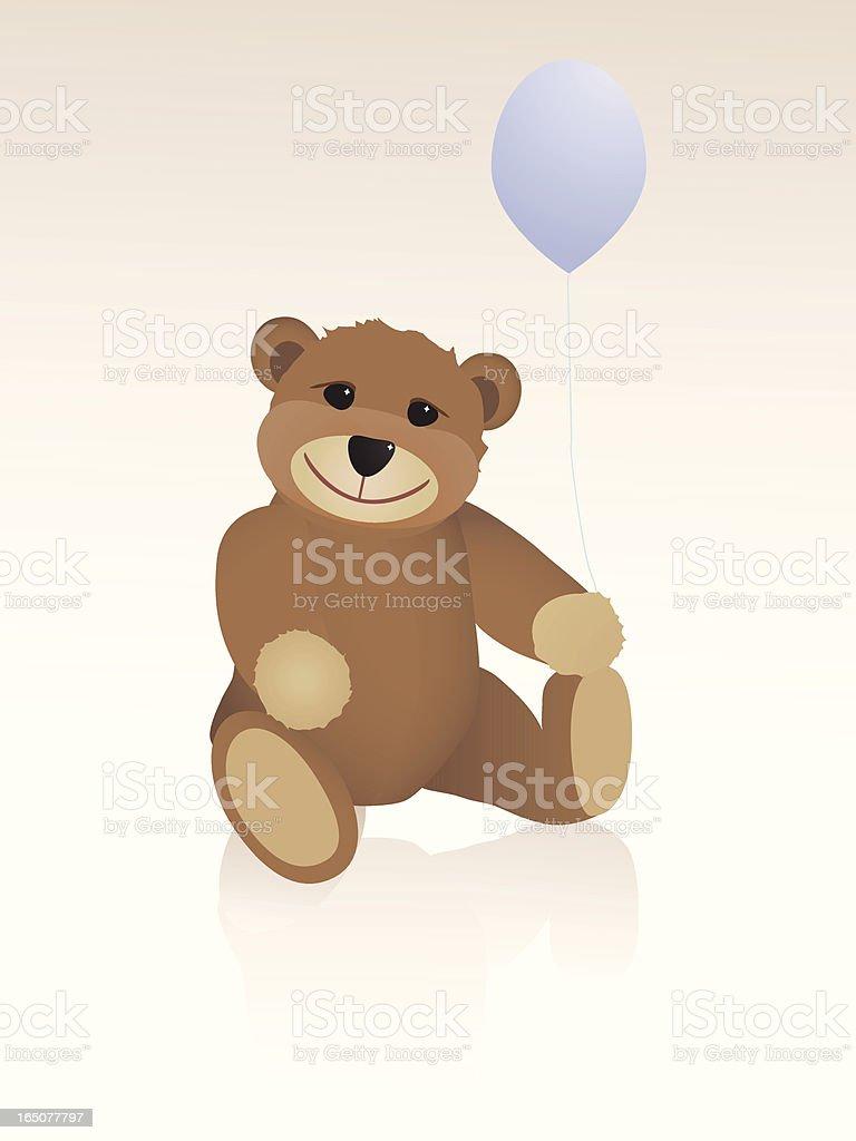 Teddy Bear with balloon vector art illustration