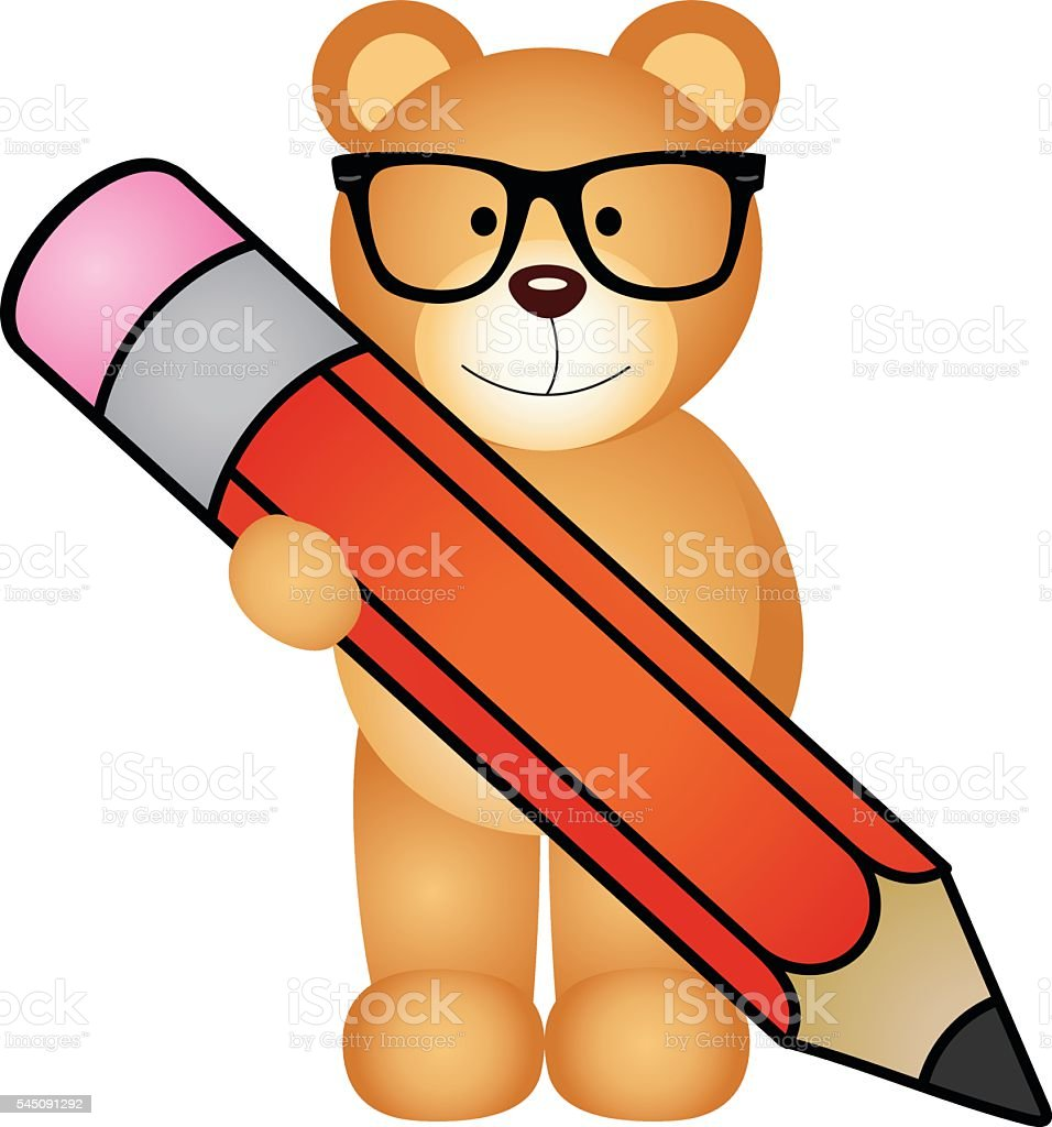 Teddy bear with pencil vector art illustration
