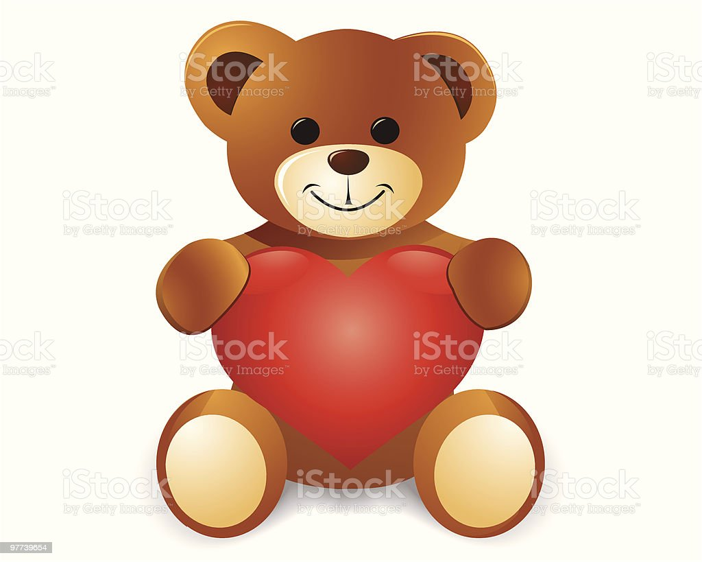 Teddy Bear With Red Heart vector art illustration