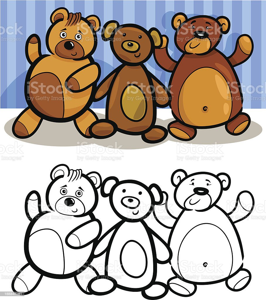 Teddy Bears cartoon for coloring royalty-free stock vector art
