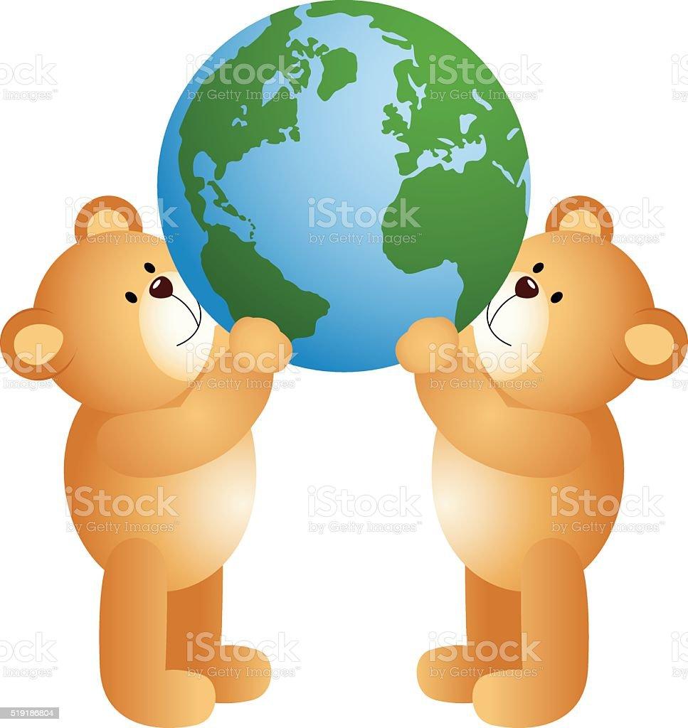 Teddy Bears Holding World Globe stock vector art 519186804   iStock