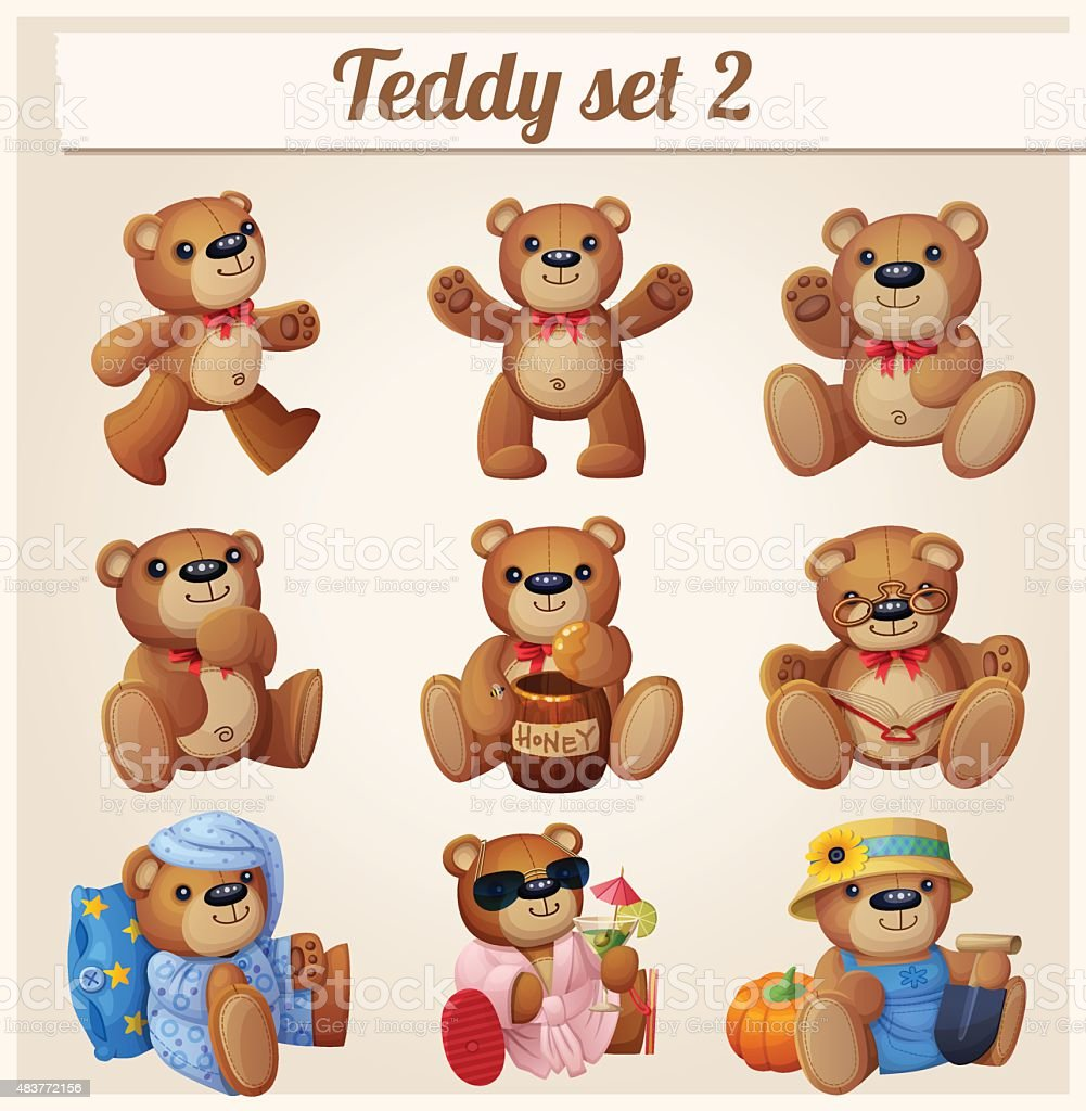 Teddy bears set. Part 2. Cartoon vector illustration vector art illustration