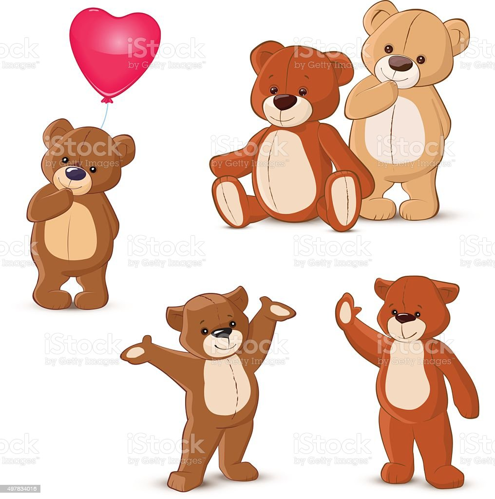 Teddy bears set vector art illustration