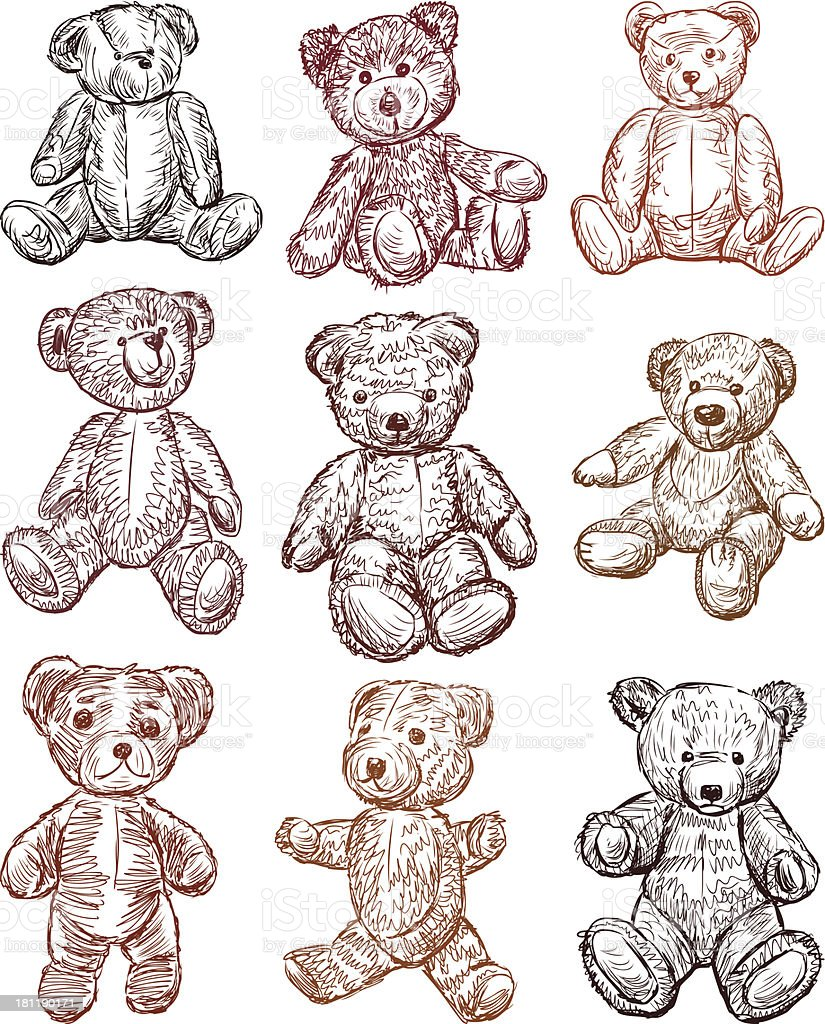 teddy bears vector art illustration