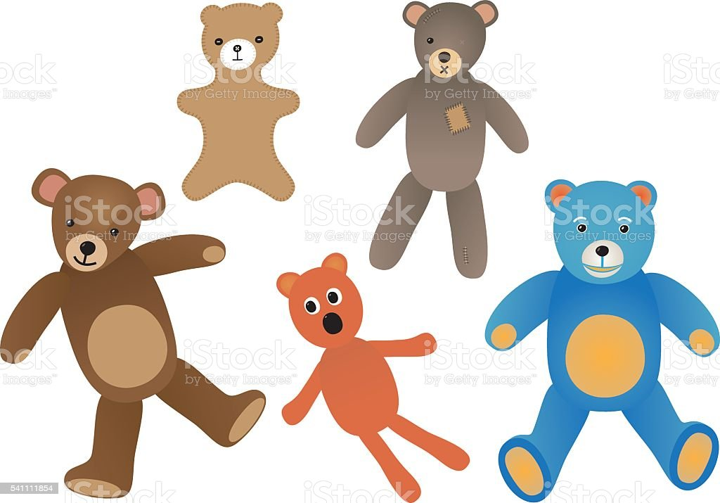 Teddy bears vector art illustration