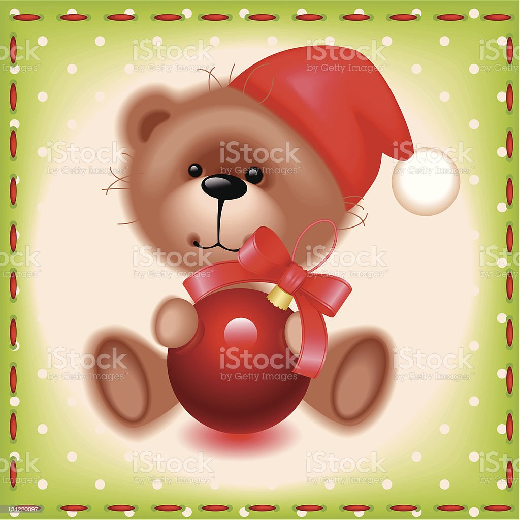 teddy toy bear with a Christmas ball royalty-free stock vector art