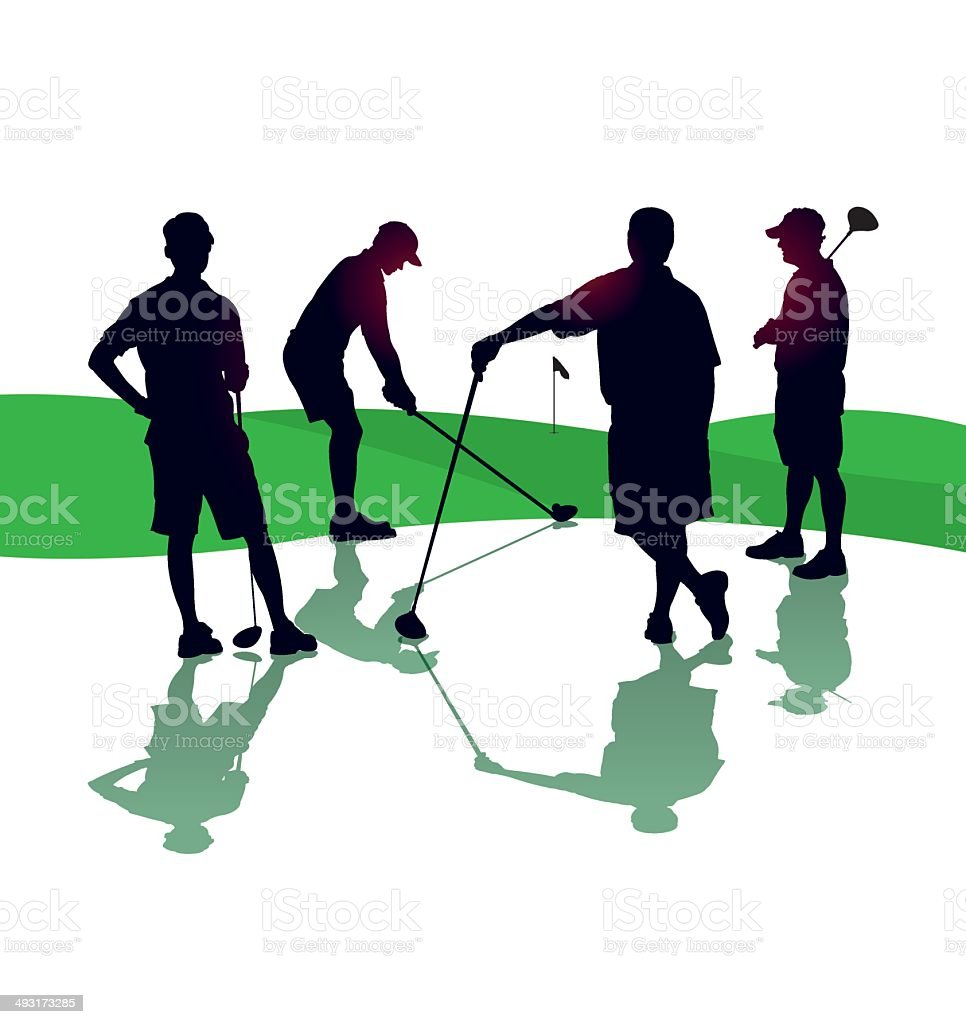 Teeing Off, Golf Foursome Background vector art illustration