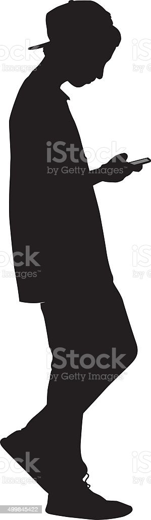 Teen Boy Walking With Smart Phone vector art illustration