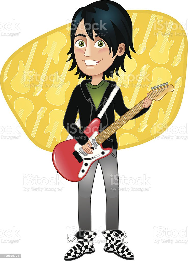 Teen boy with electric guitar royalty-free stock vector art