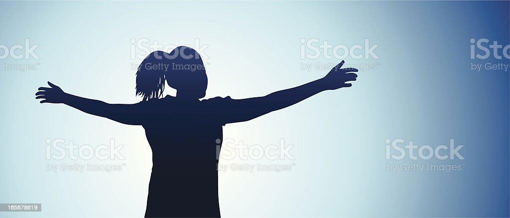 Teen girl feeling free vector art illustration