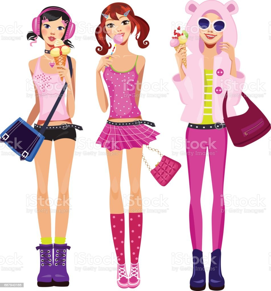 teen girls in pink  clothes with ice cream and lollipop vector art illustration