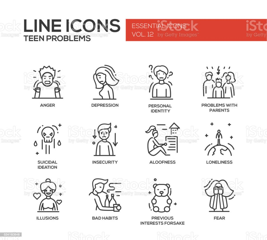 Teen problems- line design icons set vector art illustration