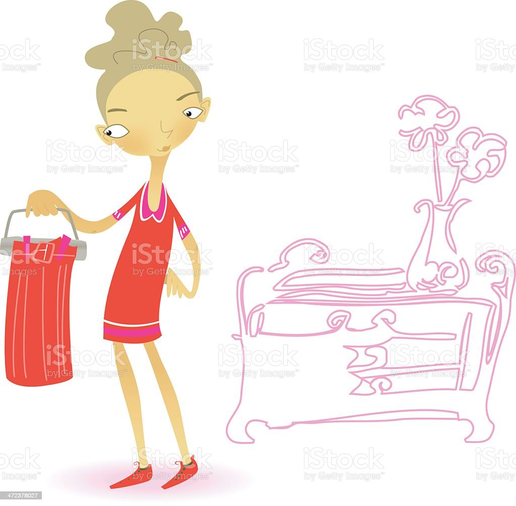 teen with skirt (pink-/red-mood) vector art illustration