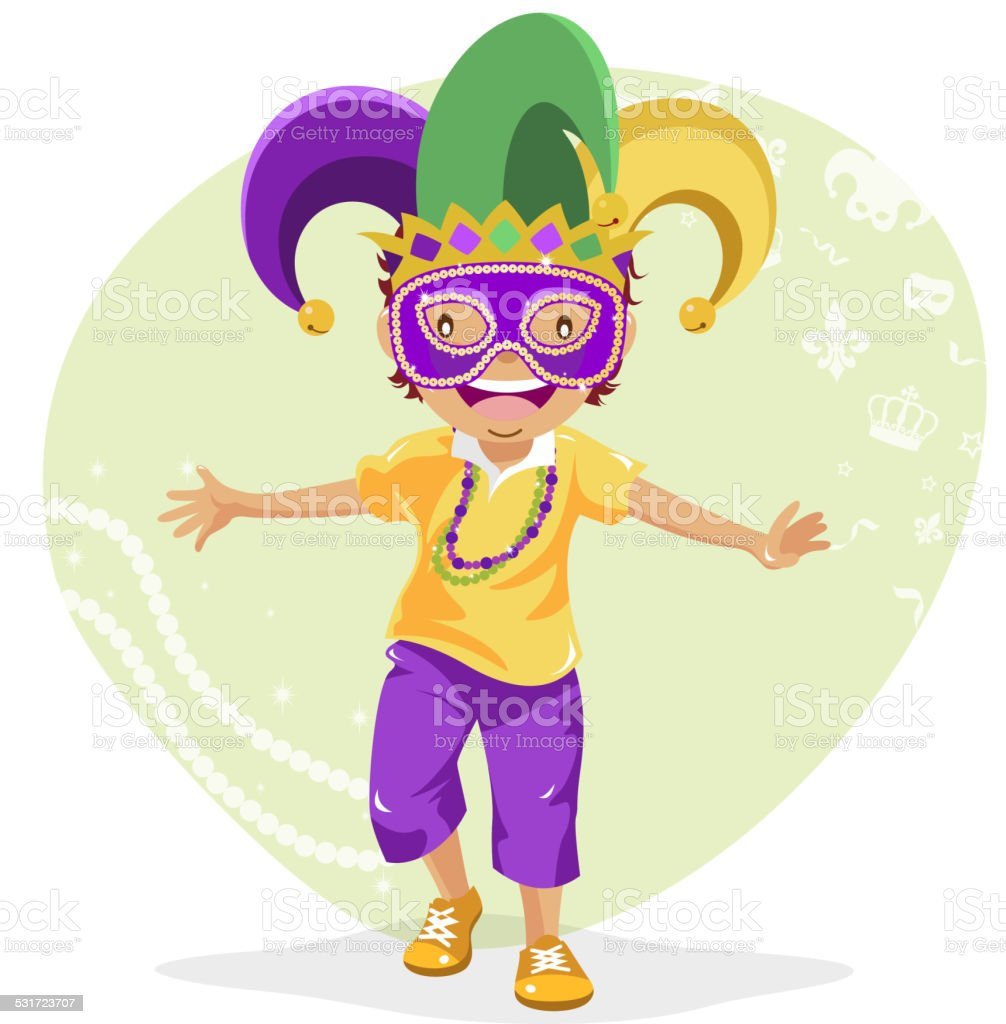 Teenage Boy Dressing Up for Mardi Gras vector art illustration