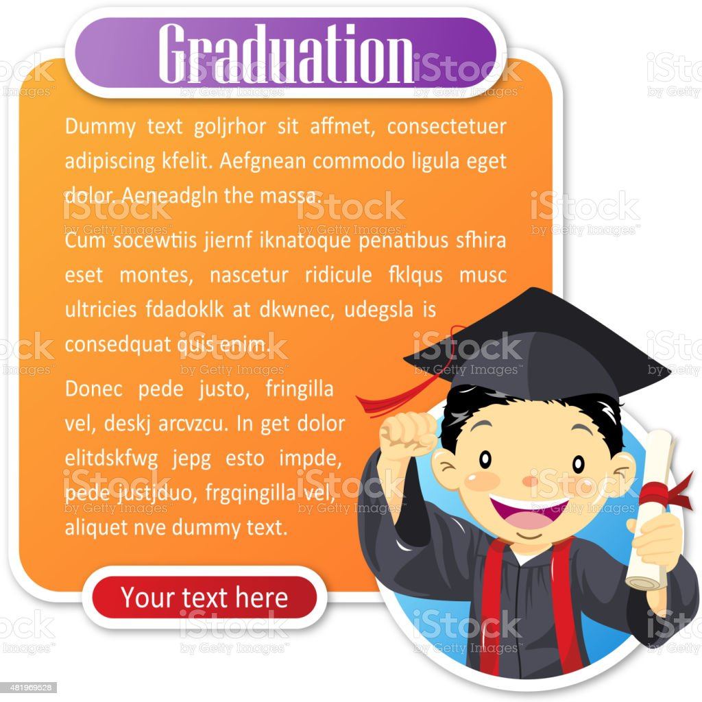 Teenage boy graduate notice vector art illustration