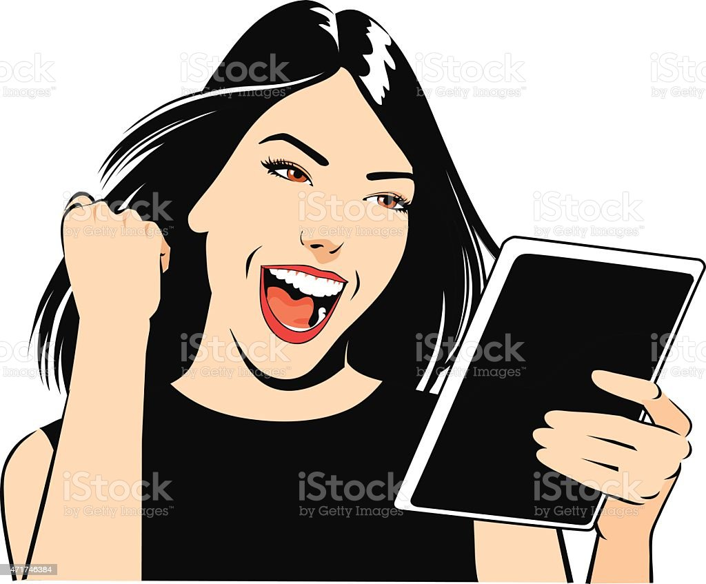 Teenage Girl Celebrates Holding iPad vector art illustration