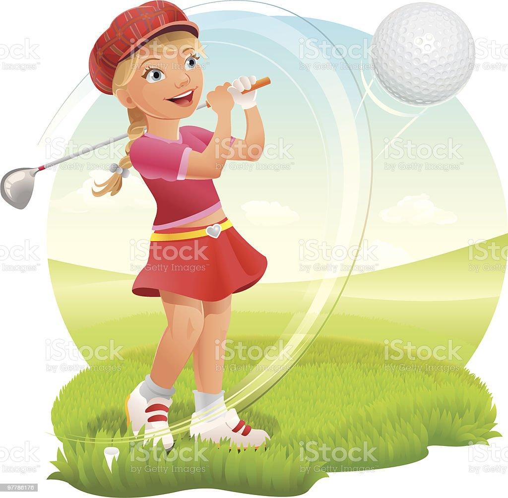 Teenage Girl Playing Golf on Green vector art illustration