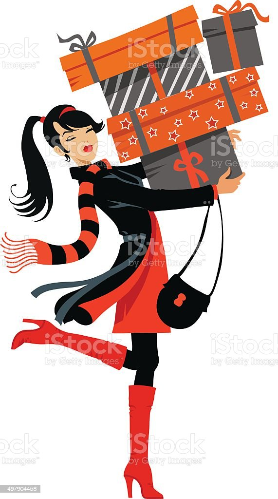 Teenage Girl With Shopping Boxes vector art illustration