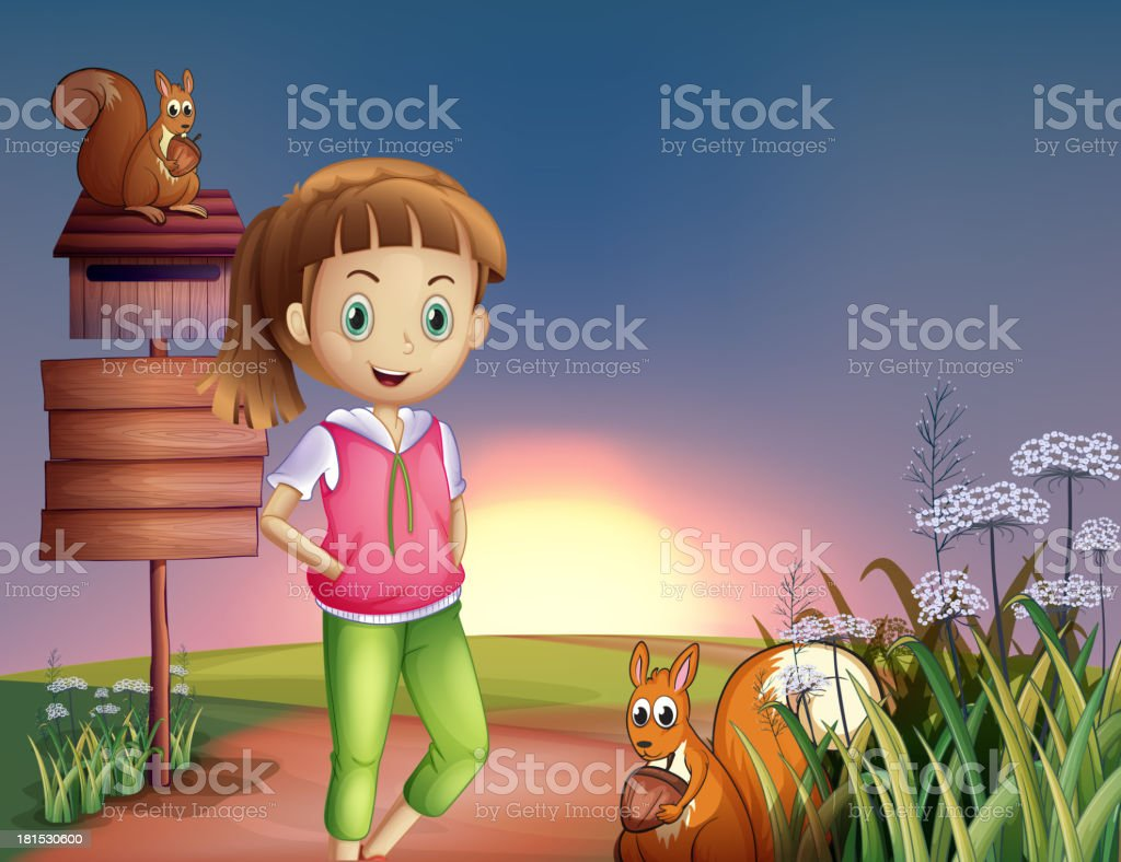 teenager at the hilltop with two squirrels royalty-free stock vector art
