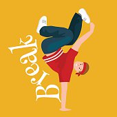 Teenager boy dancing hip hop style isolated vector illustration. Young