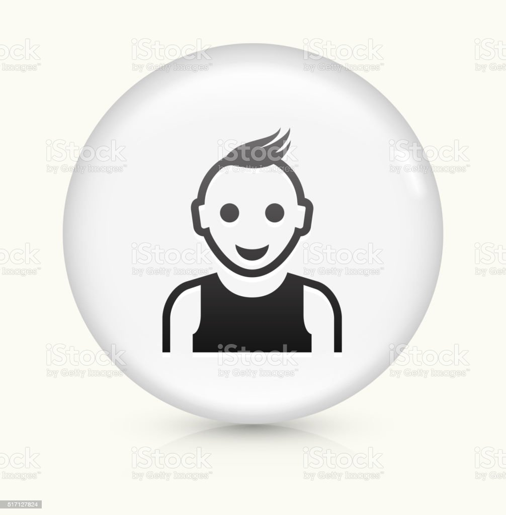 Teenager Face icon on white round vector button vector art illustration